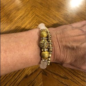 Gold and pink beaded bracelet set- costume jewelry